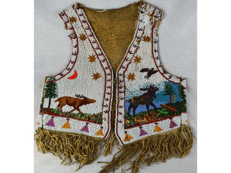 NATIVE AMERICAN INDIAN BEADED VEST WITH ELK, MOOSE, EAGLE ++ CA 1925