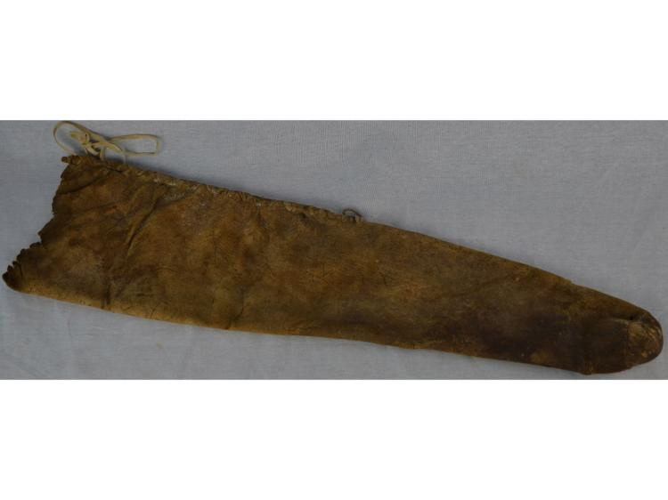 VERY OLD BUFFALO SKIN QUIVER FOR BOW & ARROWS SINEW SEWN NATIVE AMERICAN INDIAN
