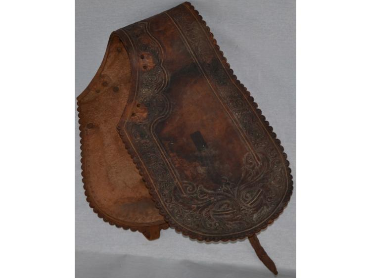 TOOLED DOUBLE SADDLE BAG COWBOY HORSE