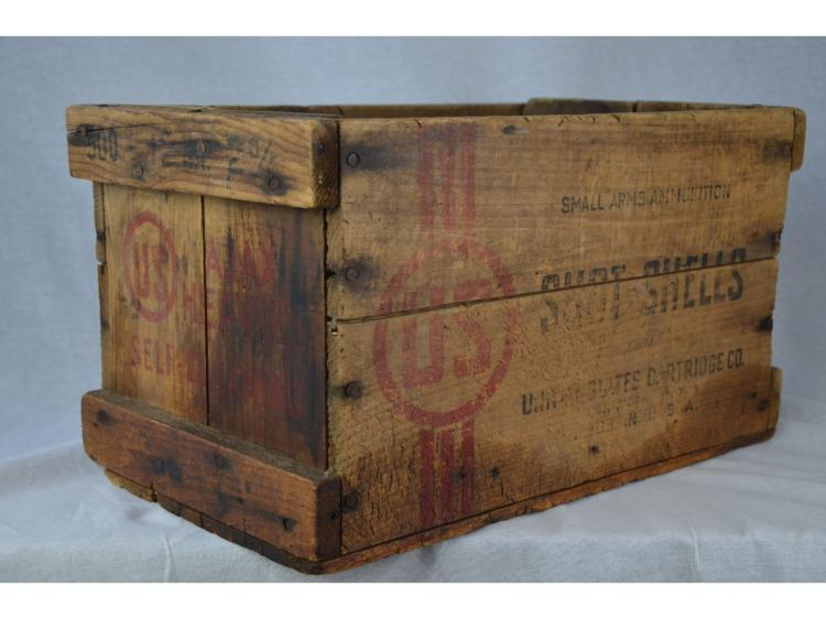 US CARTRIDGE CO GUN POWDER OLD SHELL CRATE BOX