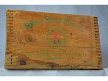 ROBIN HOOD SHELL CRATE CA 1912 PAINTED RED/GREEN