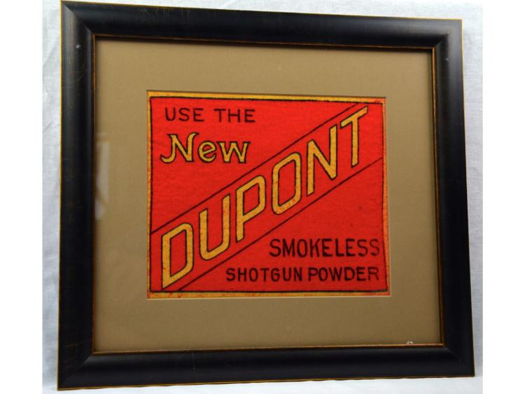 COUNTER FELT ADVERTISING DUPONT GUN POWDER FRAMED UNDER GLASS MINT FELT