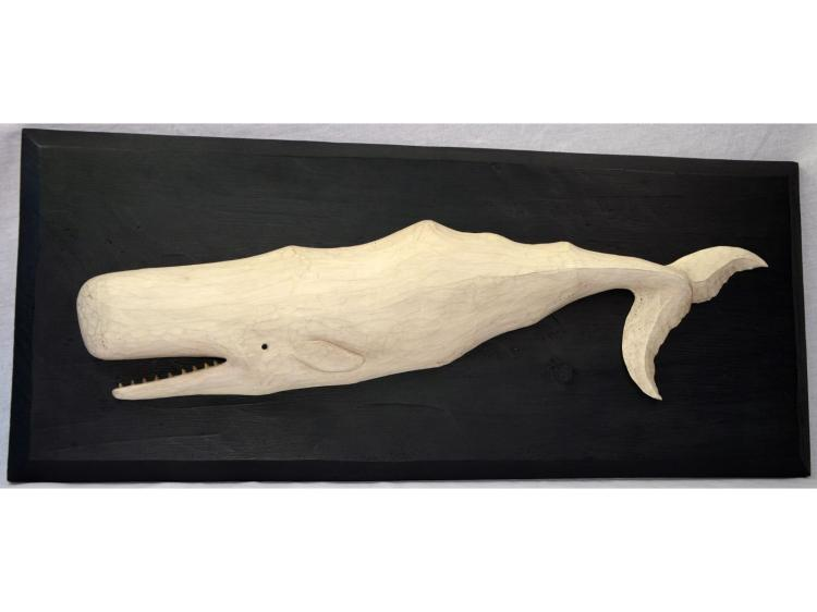 CARVED WOOD SPERM WHALE, MOBY DICK? by Bruffee FOLK ART