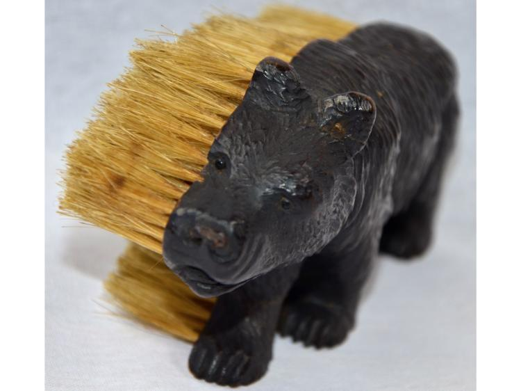 BLACK FOREST BEAR BRUSH FOLK ART HAND CARVED