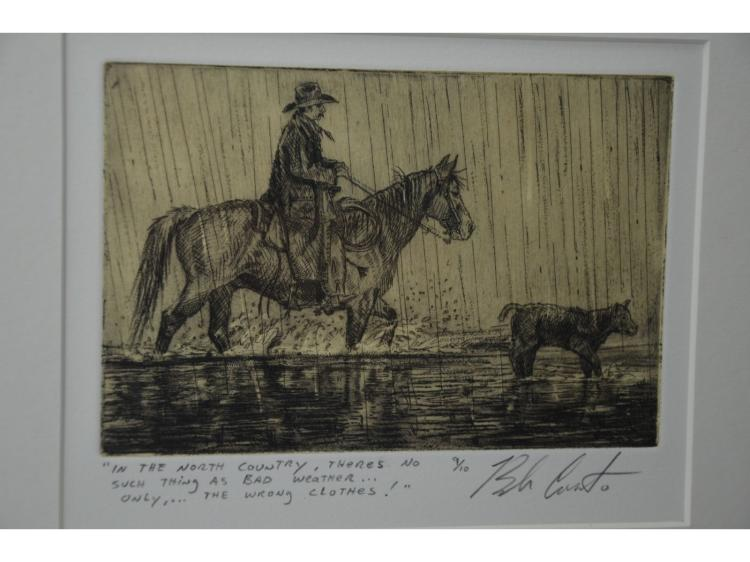ORIGINAL COWBOY HORSE CALF ROUND UP ONLY 10 EVER MADE #9/10 CHIN COLLE ETCHING BY BOB CORONATO