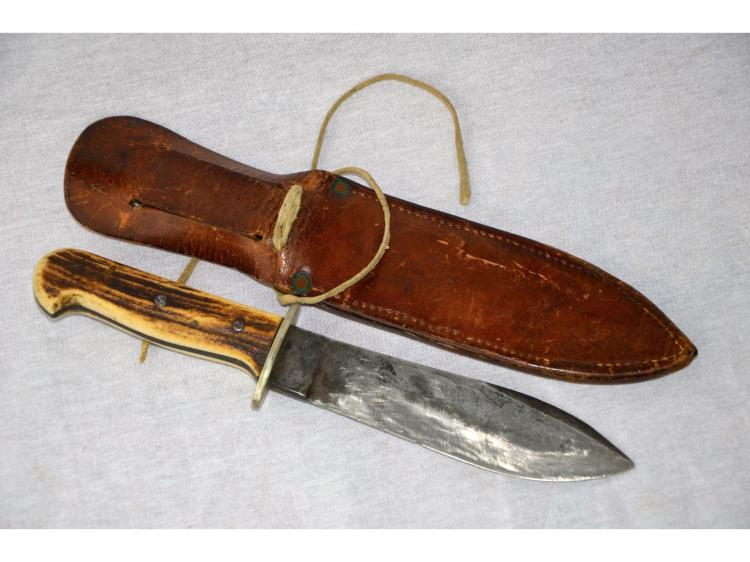 WILL & FINCK BOWIE KNIFE SKINNER STAG HANDLE RARE COWBOY ERA