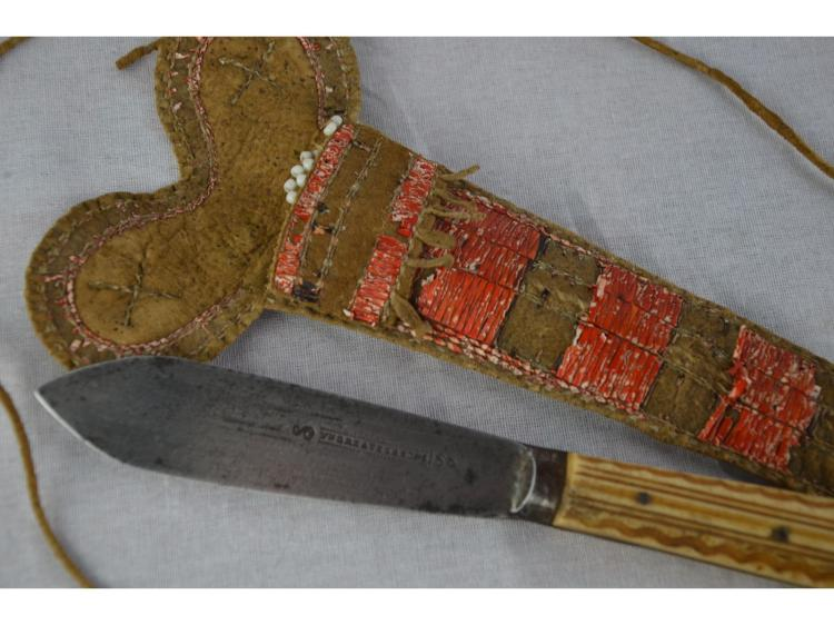 Circa 1840 QUILLED KNIFE NECK SHEATH & EARLY SHEFFIELD TRADE KNIFE NATIVE AMERICAN INDIAN