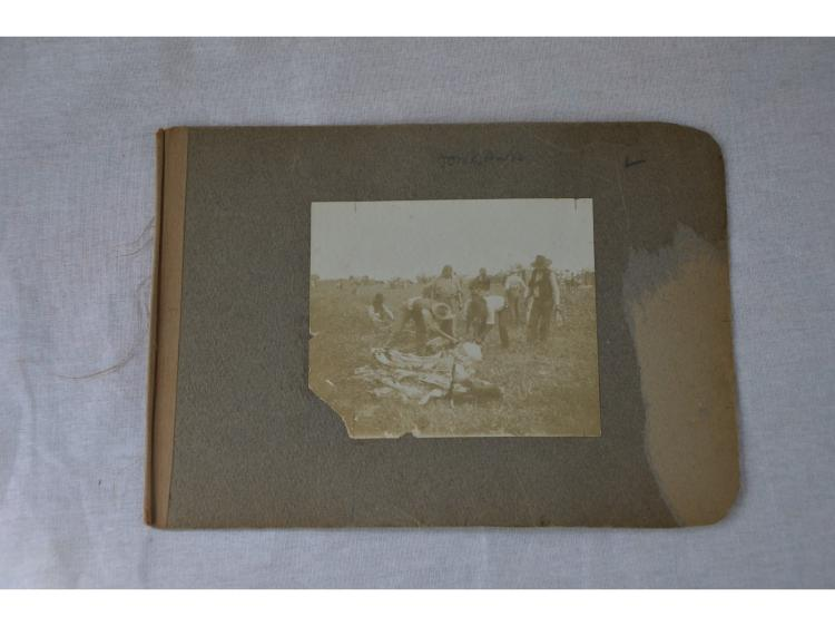 COWBOY & INDIANS BUTCHERING BEEF CATTLE ORIGINAL OLD PHOTOGRAPH. Photograph only.