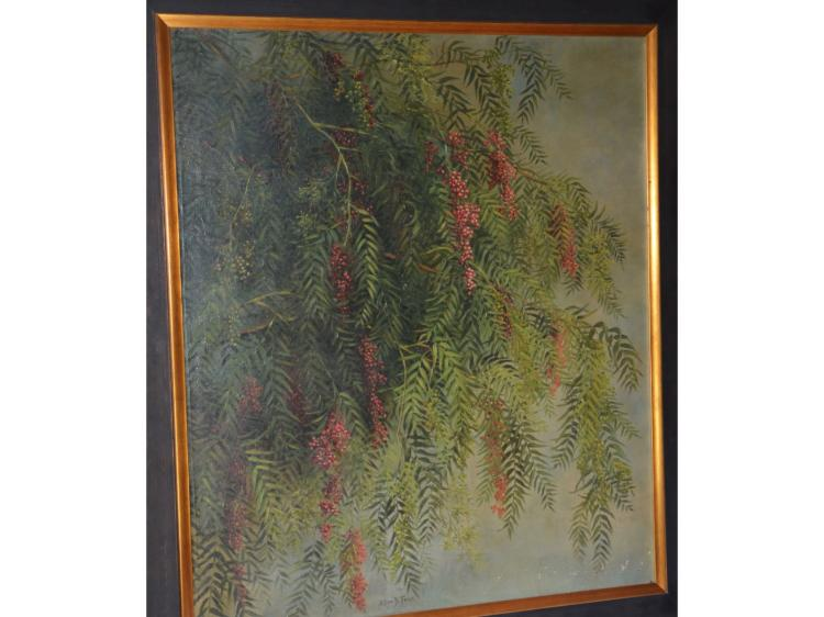 PAINTING OIL ON CANVAS ELLEN B FARR PEPPER TREE FROM HISTORIC CASTLE GREEN PASADENA CA COMMISSIONED BY COL GEORGE GILL GREEN (The Patent Medicine King).