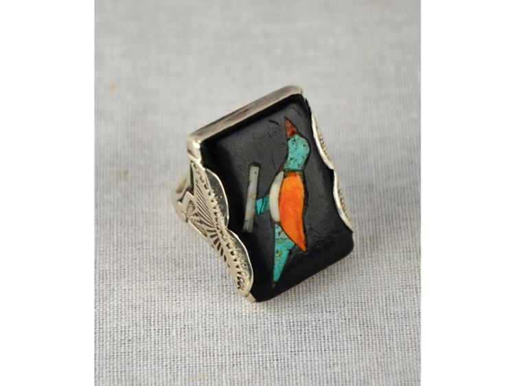 OLD CIRCA 1930 ZUNI INLAID BIRD RING SILVER AND TURQUOISE DELLA CASA APPA NATIVE AMERICAN INDIAN PUEBLO NOT NAVAJO OR HOPI