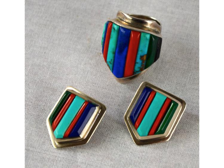 Loloma Style Silver Ring And Earring Set Pueblo Hopi Signed