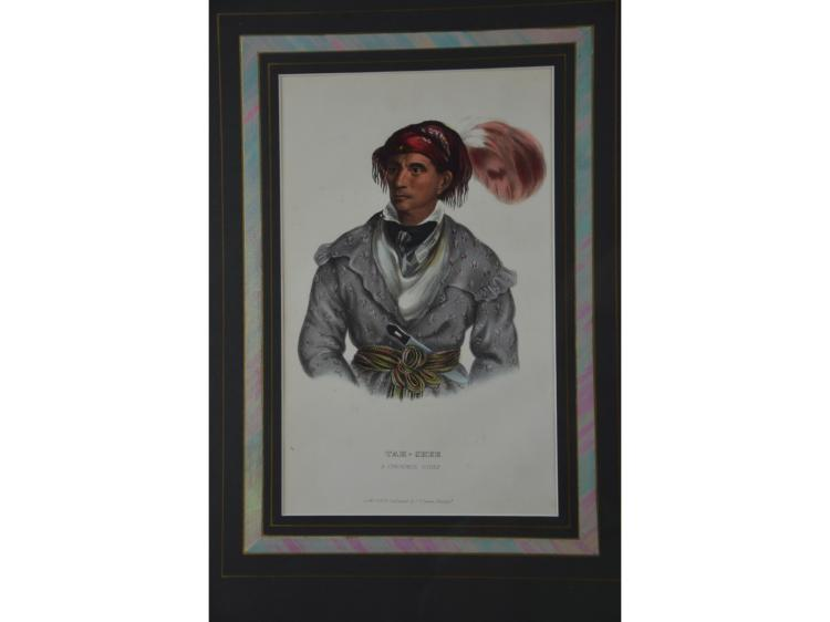 TAH-CHEE LITHOGRAPH MCKINNEY HALL HAND COLORED COFFIN HANDLE BOWIE KNIFE NATIVE AMERICAN INDIAN