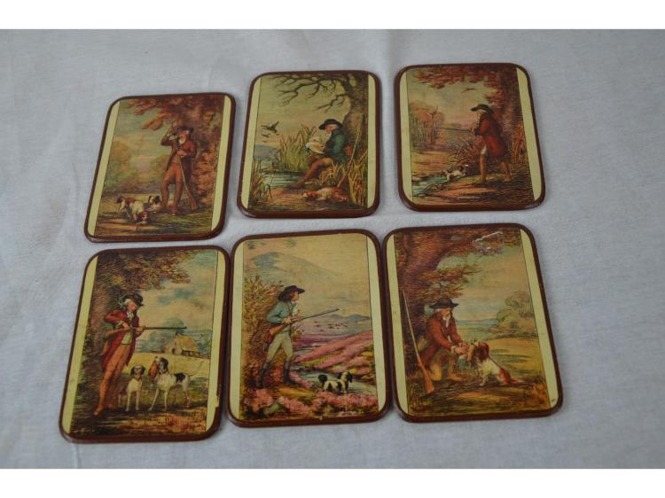 18TH CENTURY HUNTING SCENES HUNTER DOG GUN WATERFOWL UPLAND PIONTERS RETRIEVERS COASTERS