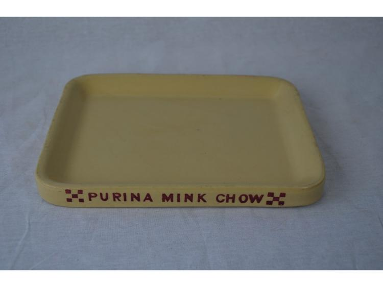 PURINA MINK CHOW DISH OR PLATE EARLY ADVERTISING FUR FARMING TRAPPING SUPPLY