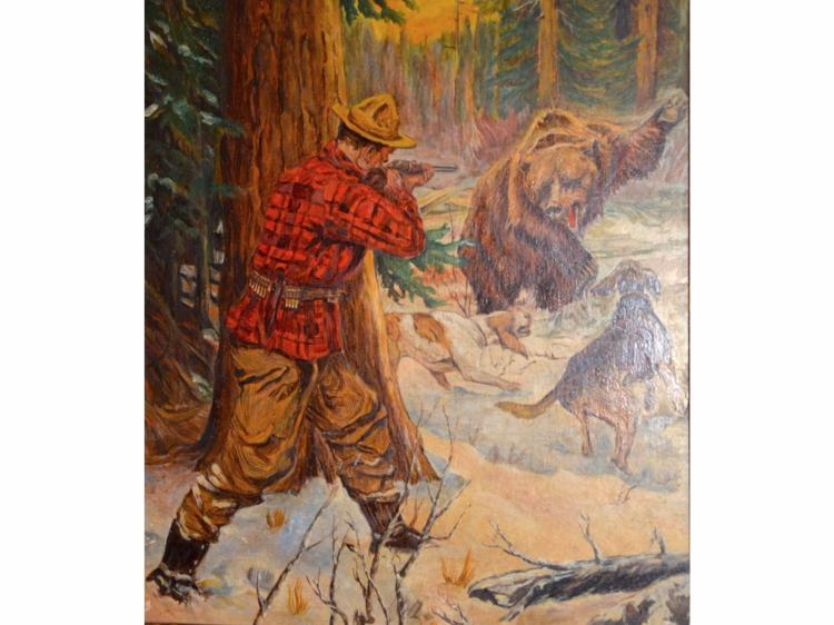 PAINTING BROUGHT TO BAY HOUNDS GRIZZLY BEAR & HUNTER BY HICKS PERIOD TAKE OF PHILLIP R GOODWIN