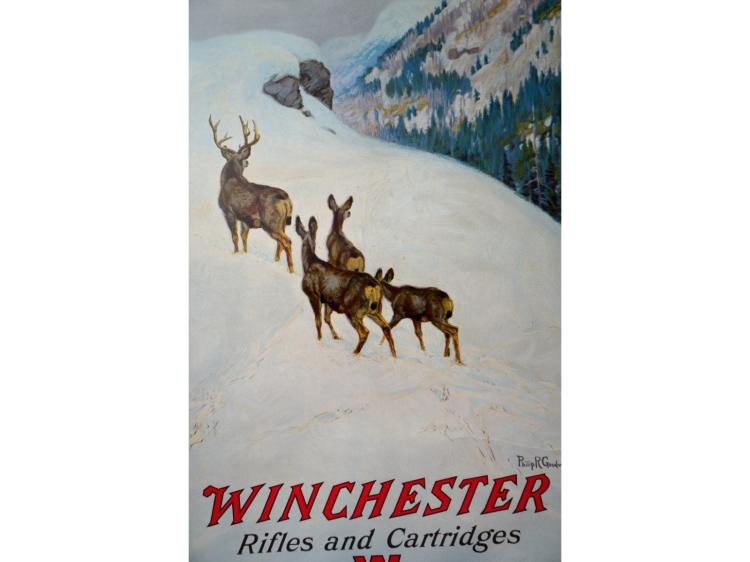 WINCHESTER POSTER 1912 PHILLIP R GOODWIN RIFLES & CARTRIDGES THE W BRAND GUN & ADVERTISING