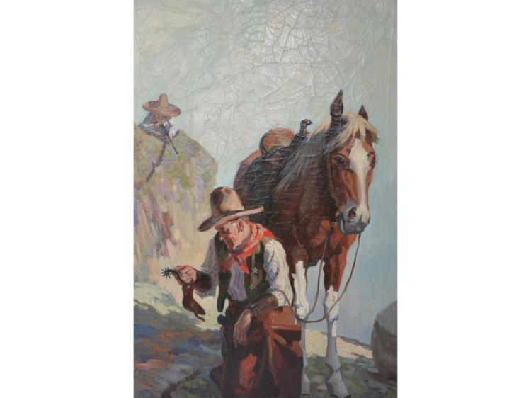 Western OIL PAINTING COWBOY LAWMAN HORSE TEXAS RANGER? H T FISK SPURS CHAPS PISTOL BADGE THICK OIL