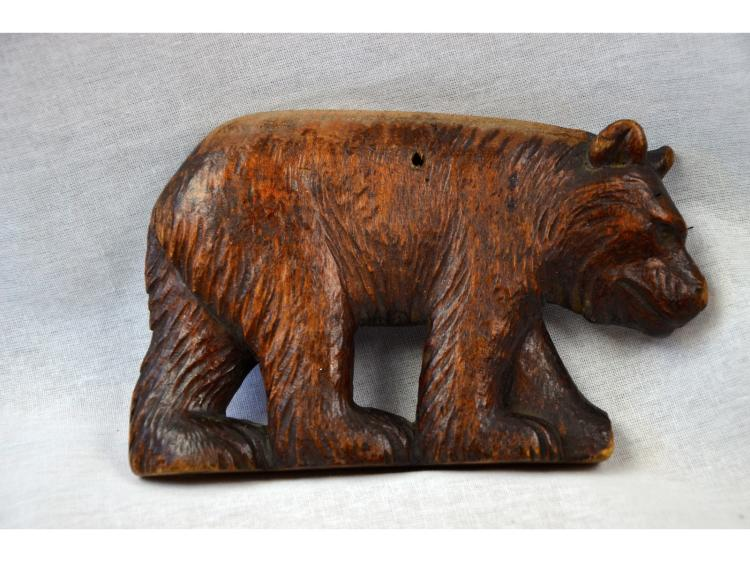 FOLK ART HAND CHIPPED CARVED BLACK FOREST BEAR