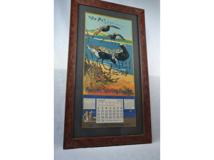 1916 HERCULES CALENDAR GUN POWDER ADVERTISING SHOREBIRDS FRAMED UNDER GLASS GREAT CONDITION BOTH BANDS