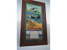 1916 HERCULES CALENDAR POWDER ADVERTISING SHOREBIRDS FRAMED UNDER GLASS GREAT CONDITION BOTH BANDS