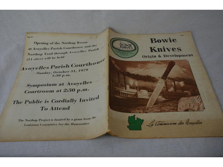 BOWIE KNIFE BOOK AVOYELLES PARISH, LA DISPLAY ON WILLIAM WILLIAMSONS COLLECTION