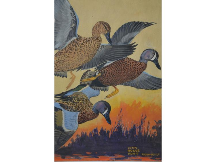 LYNN BOGUE HUNT PAINTING DUCK HUNTING TEAL MAGAZINE COVER HISTORY GUACHE OR WATERCOLOR