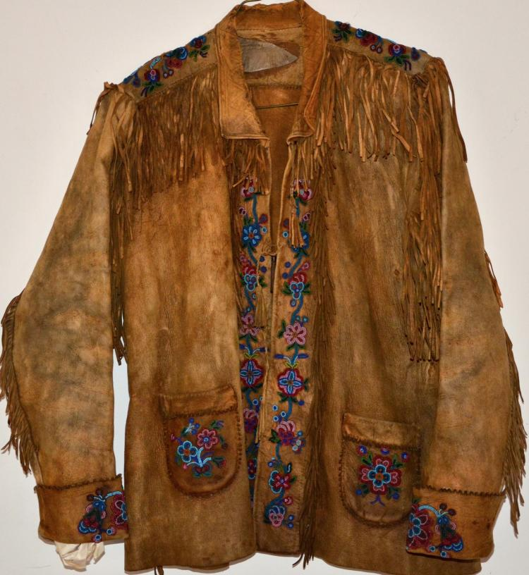 BEADED JACKET NATIVE AMERICAN BRAIN TANNED EARLY INDIAN
