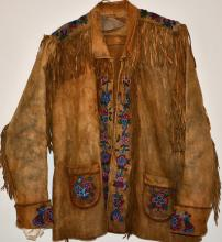 BEADED JACKET NATIVE AMERICAN BRAIN TANNED EARLY