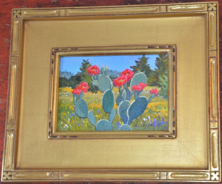OIL PAINTING ON BOARD PRICKLY PEAR CACTUS & WILD FLOWERS MOUNTED IN GOLD GILT FRAME MICHAEL CANGEMI 2015