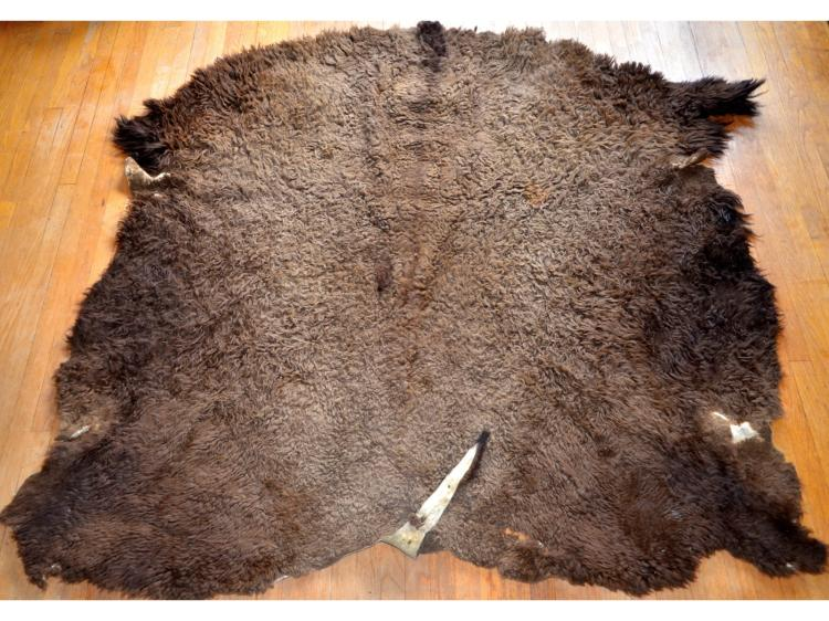 OLD BUFFALO ROBE SKIN RUG PIONEER OR NATIVE AMERICAN (?) MARKED H & S