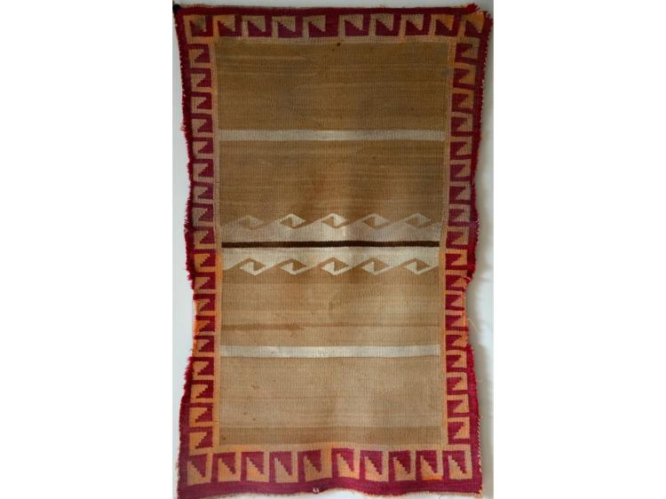 NAVAJO DOUBLE SADDLE BLANKET COWBOY INDIAN USED CIRCA 1920