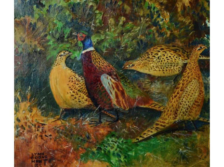 LYNN BOGUE HUNT OIL PAINTING ON CANVAS PHEASANTS FOR ABERCROMBIE & FITCH SPORTING GOODS STORE