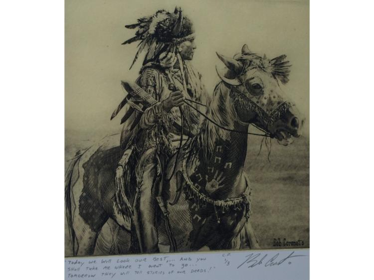 ORIGINAL CHIN COLLE ETCHING BY BOB CORONATO, NATIVE AMERICAN ON HORSE.