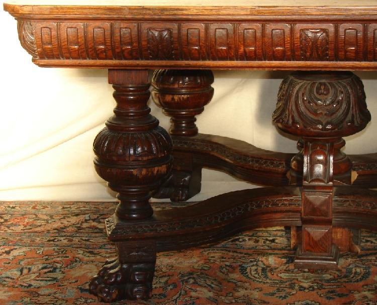 Lot Rj Horner Carved Oak Dining Table W 2 Leaves