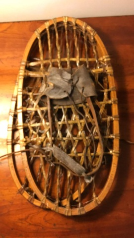 Pair of Antique Leather and Wood Snow Shoes