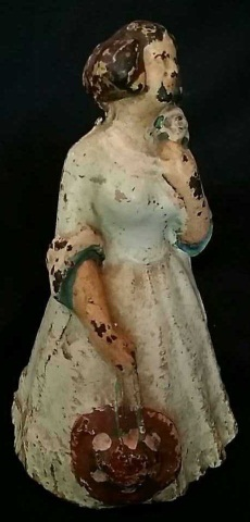Antique Painted Iron Doorstop Victorian Woman