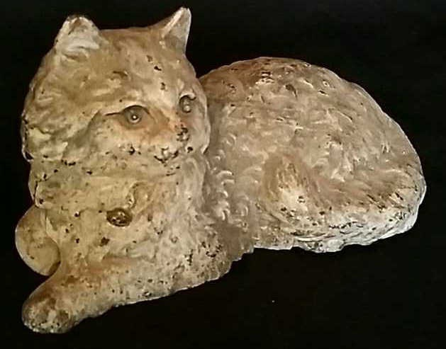 Antique Painted Iron Doorstop Reclining Cat