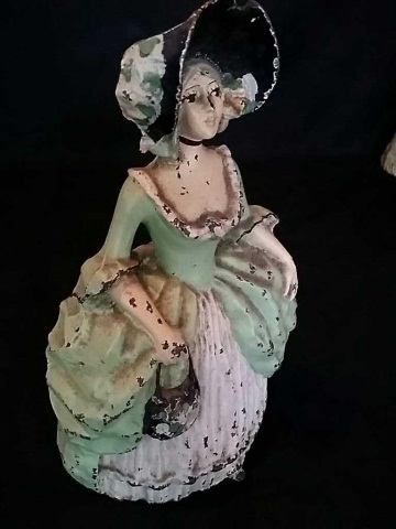 Antique Painted Iron Doorstop Woman in Skirt
