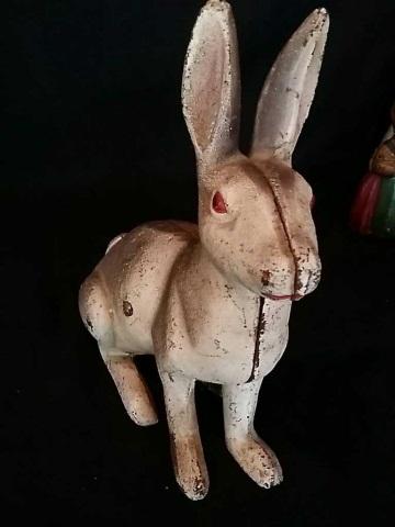 Vintage Painted Iron Doorstop of Rabbit