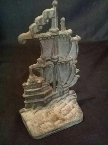 Vintage Painted Iron Doorstop of Sailing Ship
