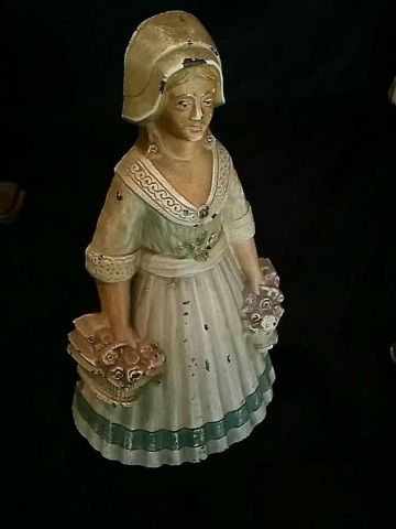 Vintage Painted Iron Doorstop of Woman w/ Baskets