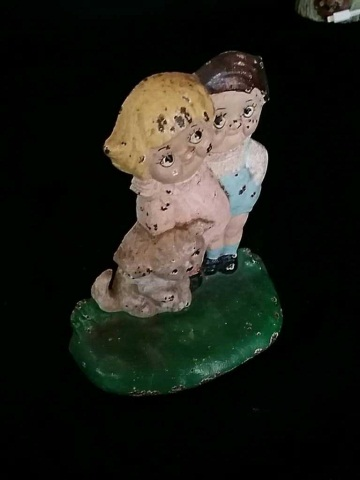Vintage Painted Iron Doorstop of 2 Children & Dog