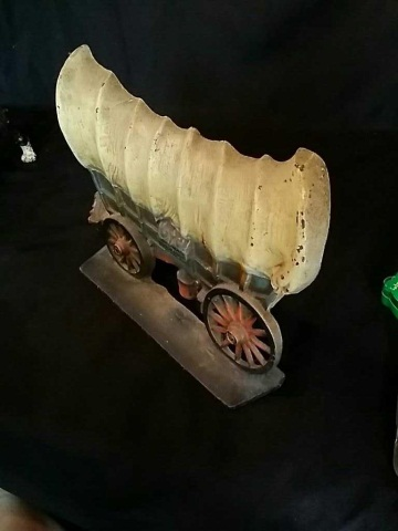 Vintage Painted Iron Doorstop of Covered Wagon