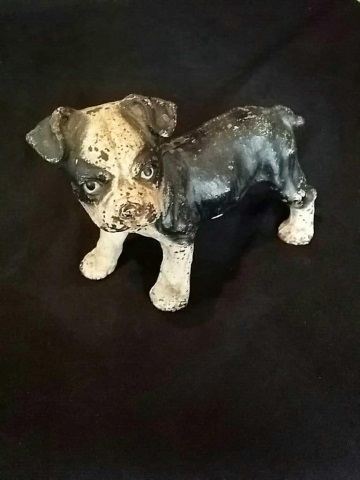 Vintage Painted Iron Doorstop of Terrier