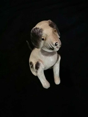 Antique Painted Composition Bobblehead Dog