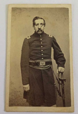 Antique Civil War Photo. Officer w/ Wound to Face