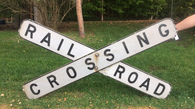 Vintage Painted Aluminum Railroad Crossing Sign