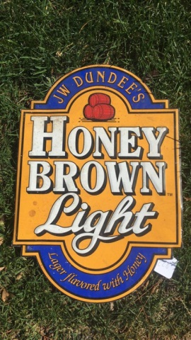 Vintage Stamped Metal Honey Brown Light Sign