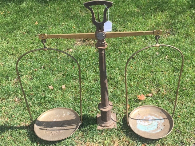 Monumental Antique Iron & Brass Pan Scale