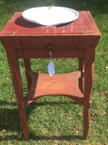 Primitive Painted Pine Shaving Stand